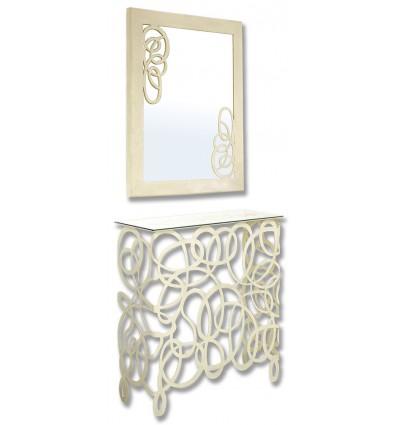 consola de forja con espejo enredo