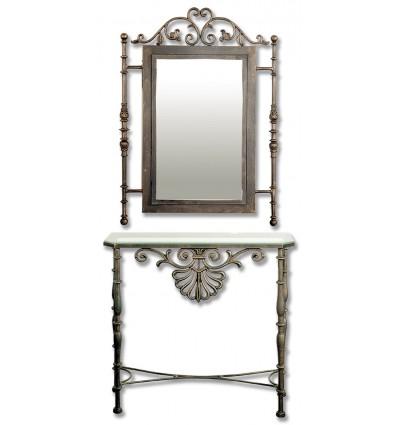consola de forja peineta con espejo a juego