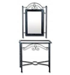 consola de forja rus con espejo a juego