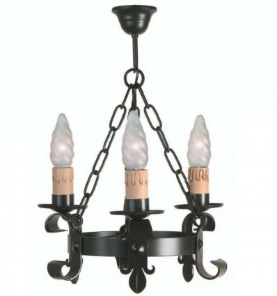 lampara de forja rustica adalia tres luces