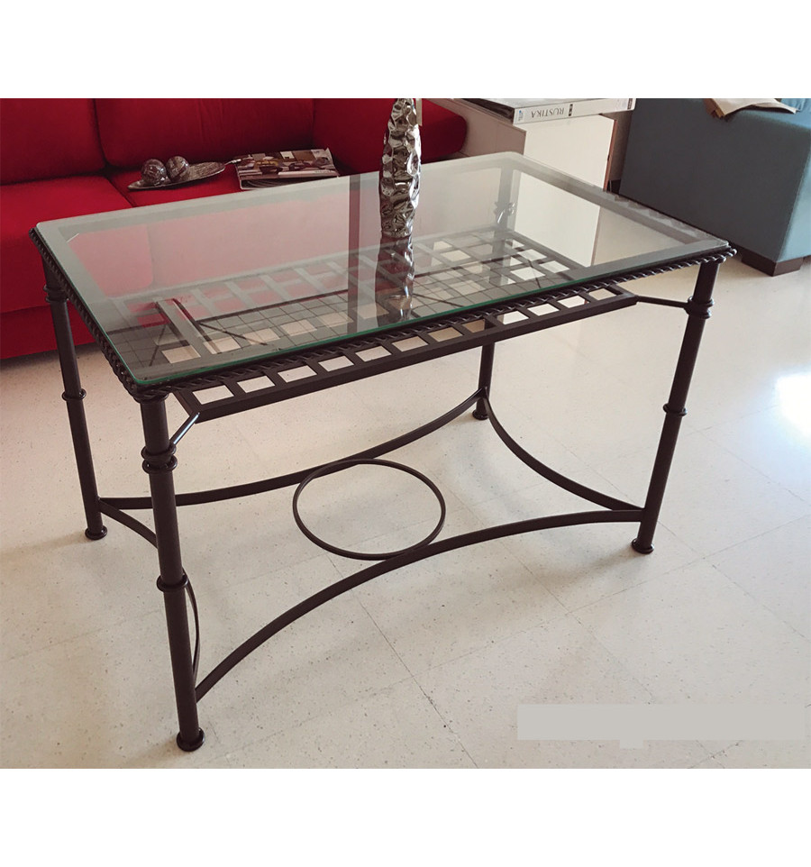 mesa de camilla elevable de forja sevilla con rejilla
