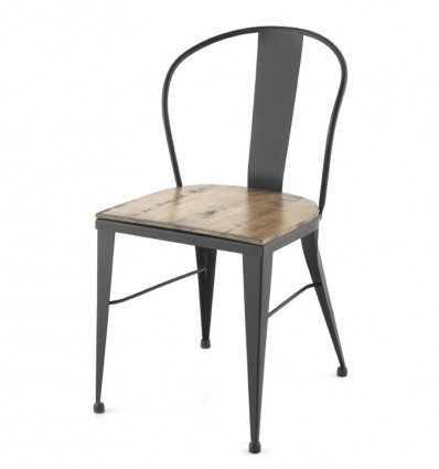 Silla industrial Bilbao asiento madera