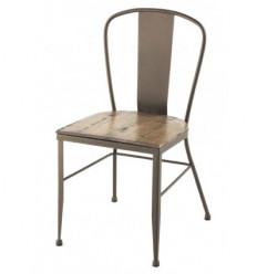 Silla de forja industrial Roma con asiento de madera