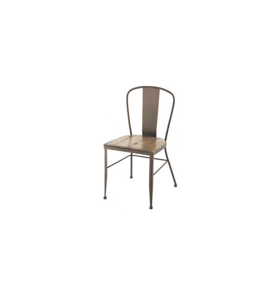 Silla de forja industrial roma con asiento de madera for Sillas de forja para jardin