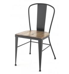Chaise Crea industrielle en fer forgé avec assise en bois