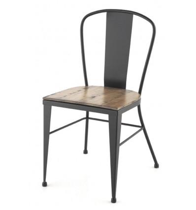 Silla de forja Crea industrial asiento de madera
