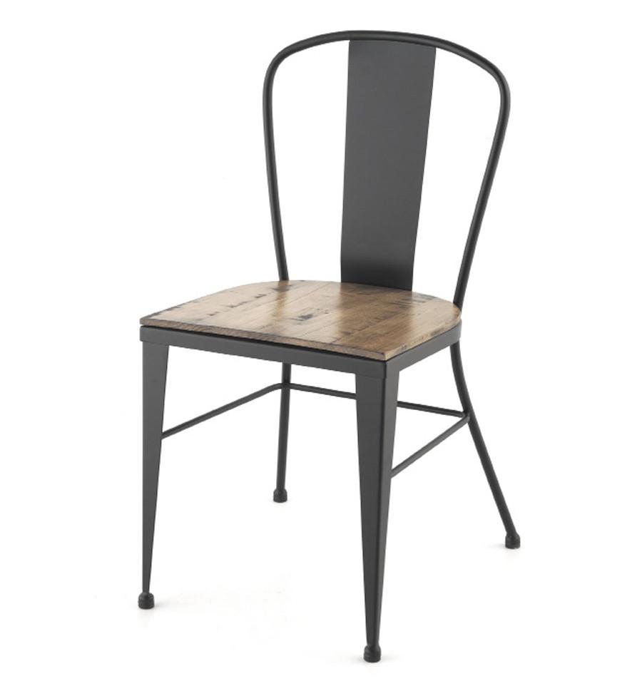 Silla de forja crea industrial asiento de madera for Sillas de forja para jardin