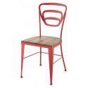 Chaise Novelda en fer forgé avec assise en bois