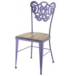 Vigo Schmiedeeisen Stuhl mit Holzsitz
