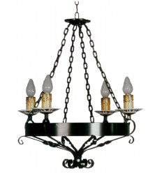 Lámpara rústica de forja plato cerámica