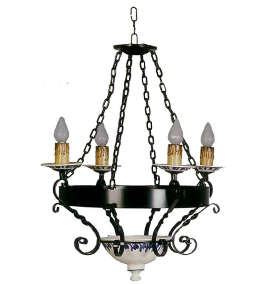 Rustikale Lampe aus Schmiedeeisen und Keramiklampe