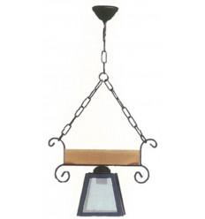 Lámpara rústica de forja y madera