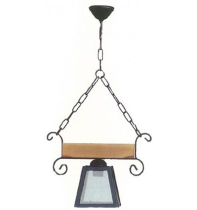 lampara rustica forja y madera