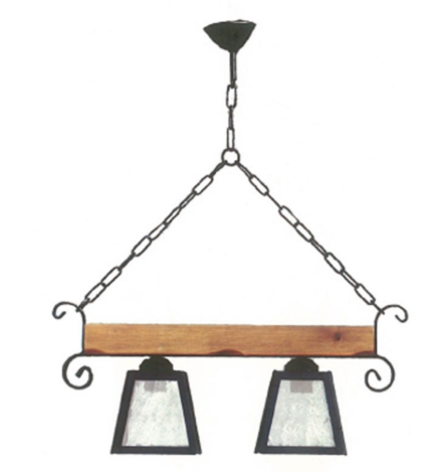 Rustikale Lampe aus Schmiedeeisen und Holz