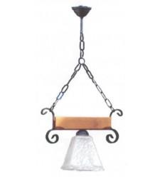 Lámpara rústica de techo de hierro y madera