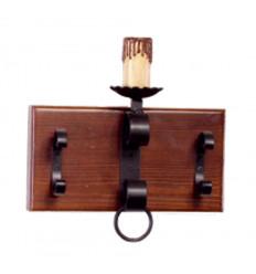 Aplique rustico pared hierro y madera