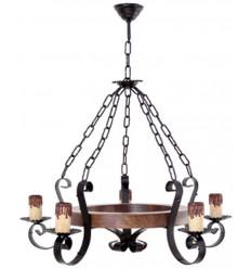 Lámpara de techo de forja y madera
