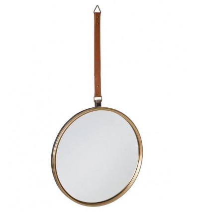 Espejo de metal industrial oro