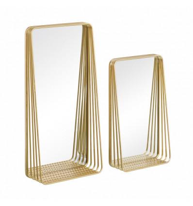 S/2 Espejo Pared Estante Oro