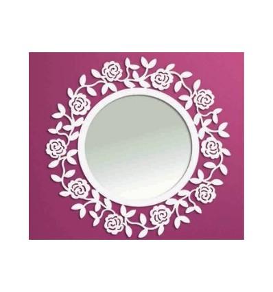 Specchio rotondo in ferro battuto Rosa