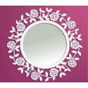 Runder Spiegel aus Schmiedeeisen Rosa