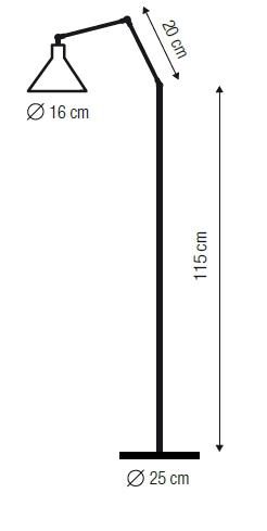 Descripción gráfica de las medidas de la lámpara de pié capuchino