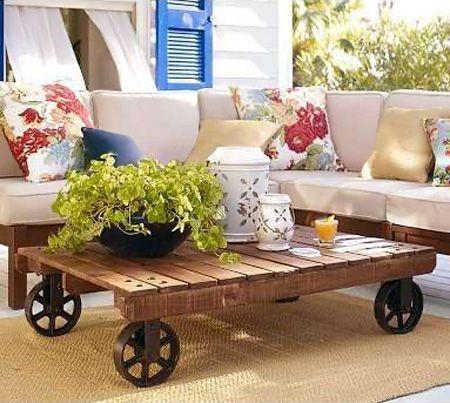 Mesas con mucho encanto 13 ideas para combinar hierro y for Mesa palets ruedas