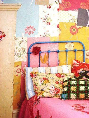 cama de forja azul