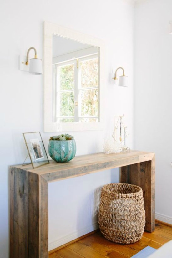 Pallet Console Table Behind Couch