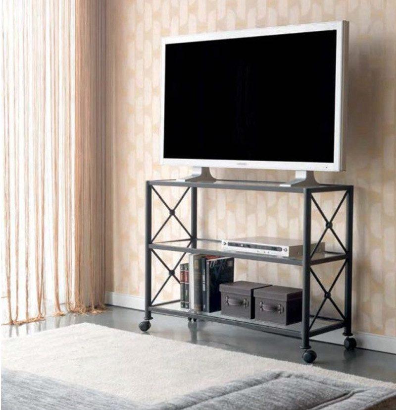 decoracion nordica low cost - Mesa de forja TV Cruceta